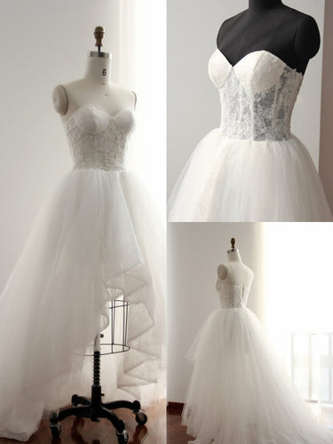 High Low Wedding Dresses Aline Sweetheart Long Train Tulle Ivory Lace Bridal Gown JKW244|Annapromdress