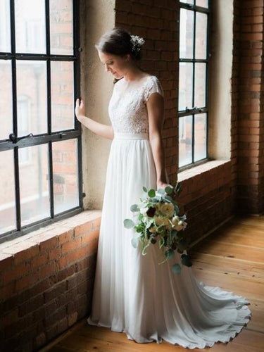 Simple Cheap Wedding Dresses Scoop Short Train Romantic Chiffon Open Back Bridal Gown JKW257|Annapromdress