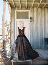 Black Wedding Dresses V-neck Appliques Ball Gown Open Back Bridal Gown JKW268|Annapromdress