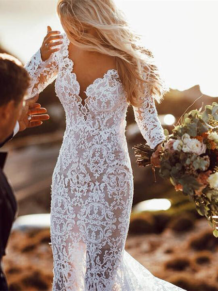 Backless Wedding Dresses Mermaid V-neck Beautiful Lace Long Sleeve Beach Bridal Gown JKW285|Annapromdress