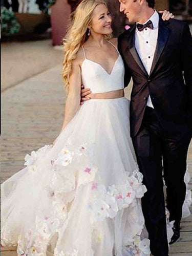 Two Piece Wedding Dresses A Line Spaghetti Straps Appliques Sexy Princess Bridal Gown JKW287|Annapromdress