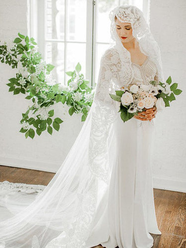 Long Sleeve Wedding Dresses V-neck Romantic Lace Mermaid Open Back Bridal Gown JKW290|Annapromdress