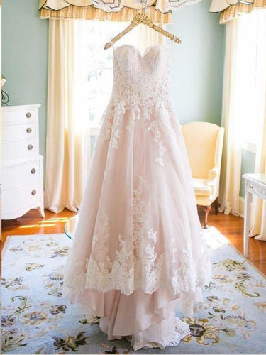 Lace Wedding Dresses Blush Pink Sweetheart A Line Chic Cheap Bridal Gown JKW294|Annapromdress
