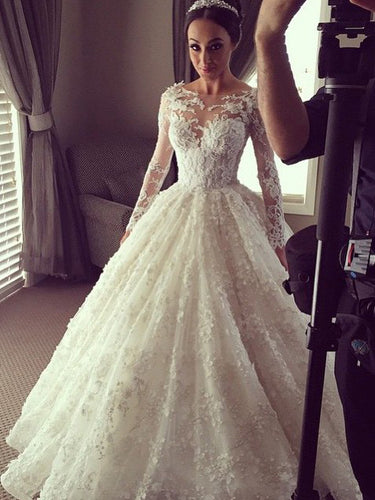 Long Sleeve Wedding Dresses Aline Bateau Beautiful Lace Ball Gown Big Bridal Gown JKW330|Annapromdress
