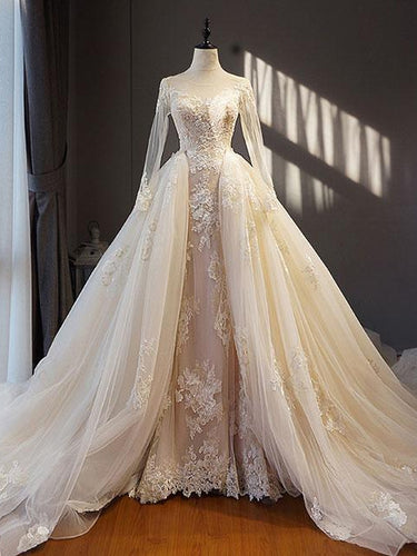 Beautiful Wedding Dresses A Line Long Sleeve Appliques Lace Sexy Princess Bridal Gown JKW334|Annapromdress