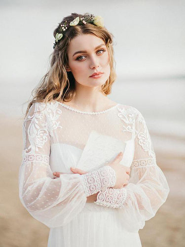 Long Sleeve Wedding Dresses Aline Romantic Beautiful Lace Beach Bridal Gown JKW337|Annapromdress