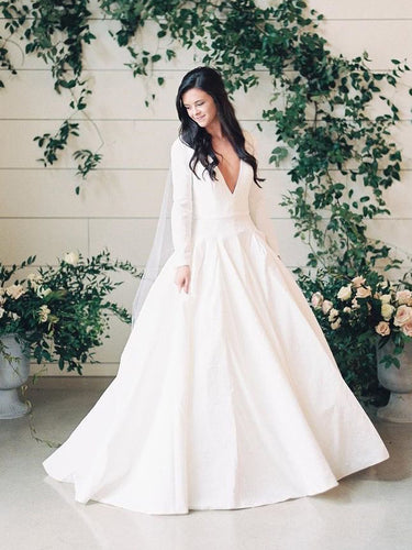 Long Sleeve Wedding Dresses Brush Train Chic Deep V Sexy Simple Bridal Gown JKW355|Annapromdress