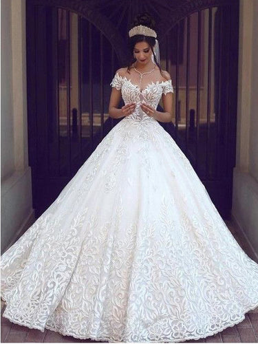 Open Back Wedding Dresses Off-the-shoulder Appliques Romantic Ball Gown Bridal Gown JKW360|Annapromdress