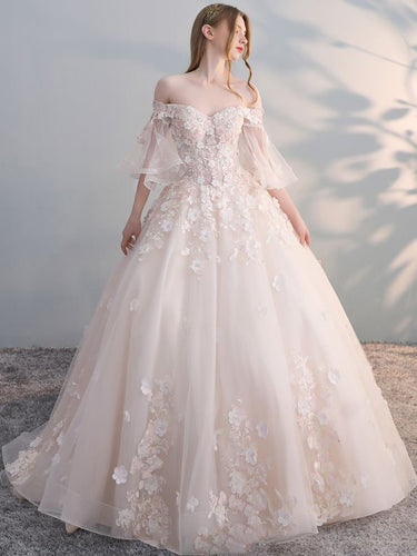 Half Sleeve Wedding Dresses Brush Train Off-the-shoulder Chic Ball Gown Bridal Gown JKW362|Annapromdress