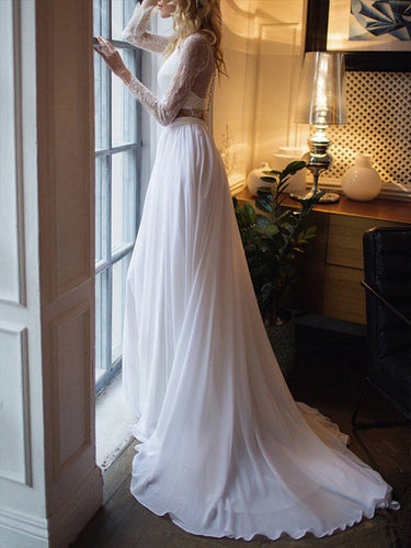 Chic Two Piece Boho Wedding Dress with Sleeves A Line Chiffon Skirt Beach Wedding Dresses JPE4835