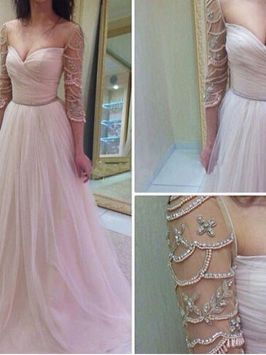 prom dresses long A-line Sweetheart Floor-length Tulle Prom Dress Evening Dress MK012