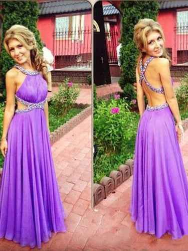 sexy  prom dresses A-line Scoop Floor-length Chiffon Prom Dress/Evening Dress #MK014