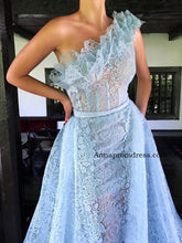 Chic One Shoulder Blue Prom Dresses A Line Exquisite Lace Prom/Evening Gowns Long YSD338|Annapromdress