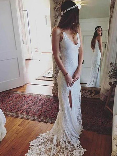 Unique Bohemian Wedding Dress with Slit Sexy V-Neck Lace Simple Bridal Gown YSJ1974|Annapromdress