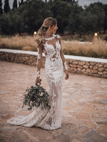 Stunning Lace Appliques See Though Mermaid/Turmpet Wedding Dress Backless Rustic Wedding with Sleeves Gowns YSQ5216|annapromdress