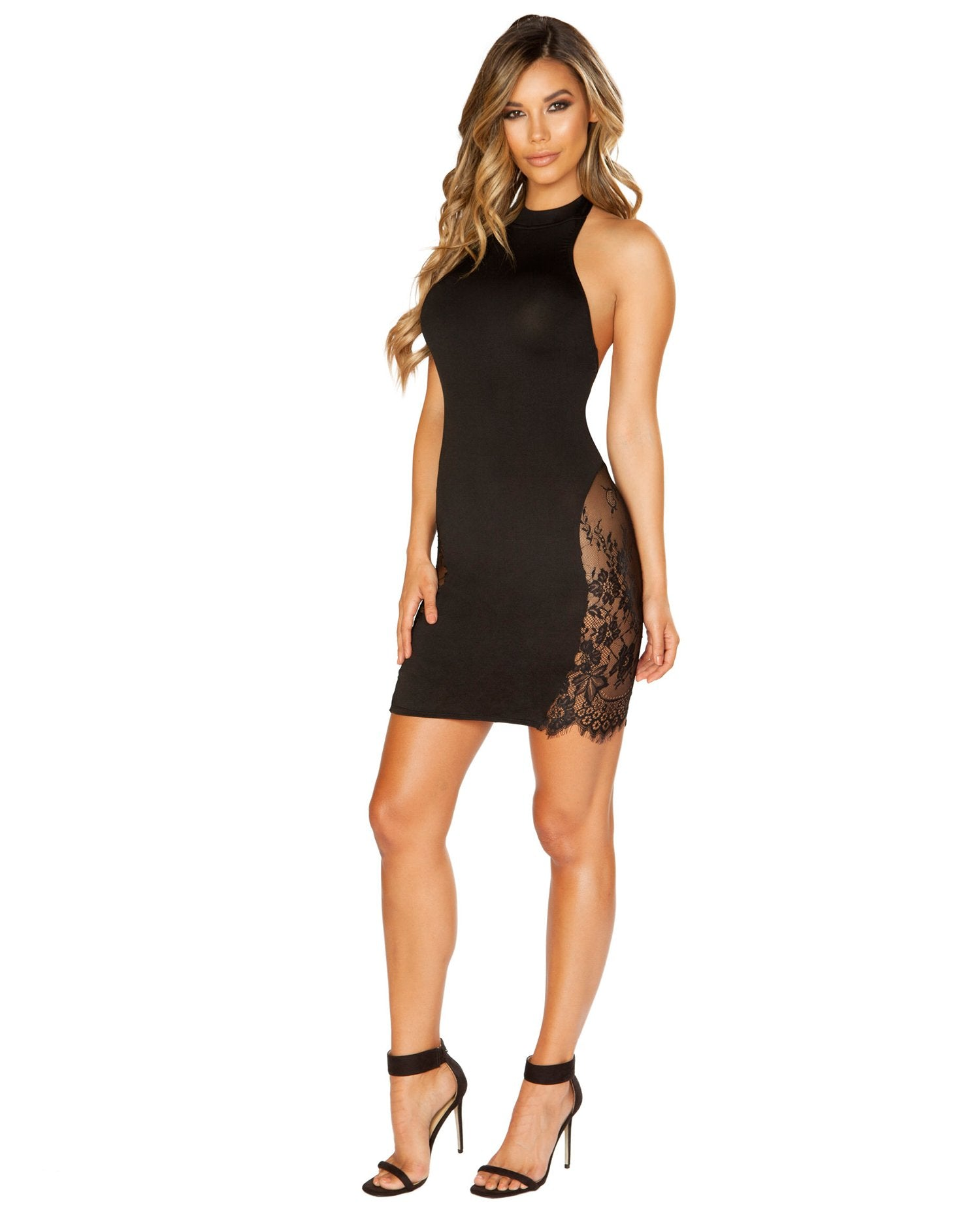 Halter Neck Dress with Eyelash Lace Panels-club wear-Roma Costume-black-small-Nakees