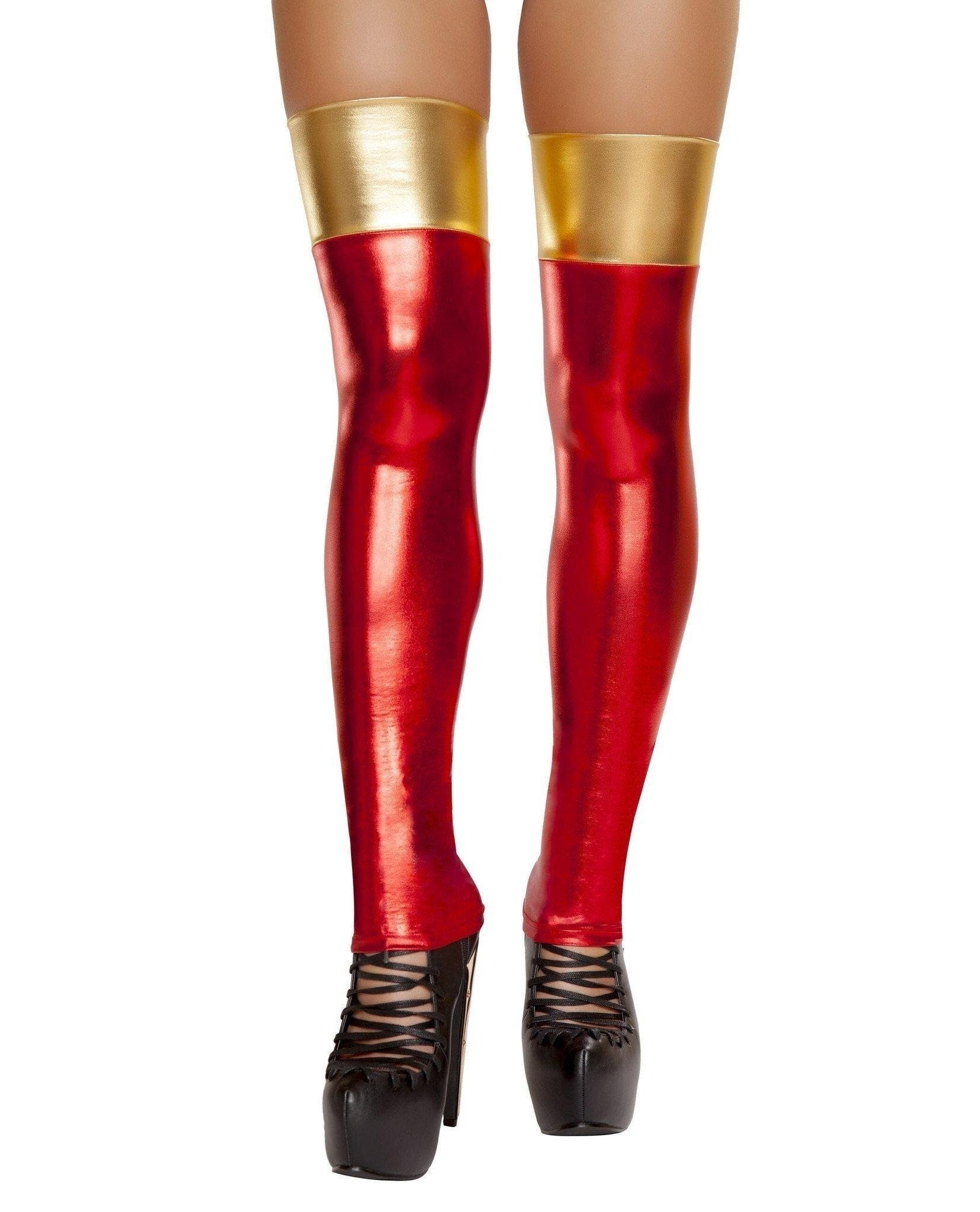 Iron Woman Thigh High Stockings-Costumes, accessories-Roma Costume-One Size-Red/Gold-Nakees