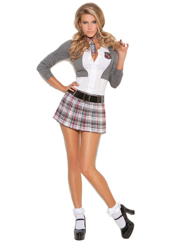 Queen of Detention Naughty School Girl Outfit-costumes-Elegant Moments-small-grey/white-Nakees