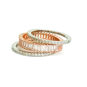 Rose Gold Eternity Rings - Diamond Stack Rings - Baguette Ring