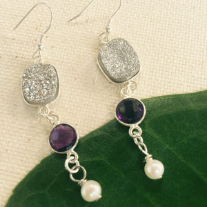 Druzy Earrings with Amethyst And Pearl