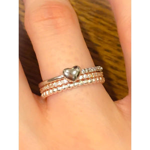 CZ Heart Eternity Band Ring-Sterling Silver Heart CZ Ring