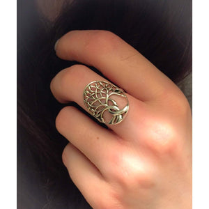 Tree of Life Ring, Sterling Silver & Rose Gold