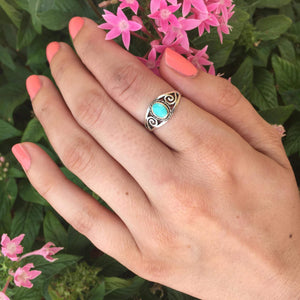 Turquoise Sterling Silver Scroll Ring