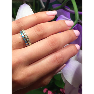 Blue Opal Eternity Band Ring