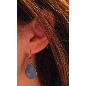 Blue Chalcedony Earrings, Dangle Earrings, Teardrop Earrings