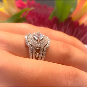 Sterling Silver 3 Piece Diamond Engagement Ring Set