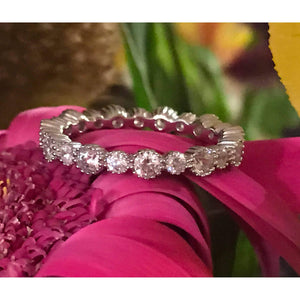 Diamond Wedding Band-Silver Silver CZ Eternity band