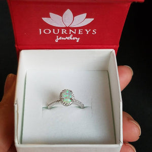 Mermaid Ring - Opal Ring with Diamond Cubic Zirconia Halo