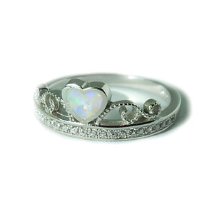 Opal Heart Ring-White Opal Ring with CZ's