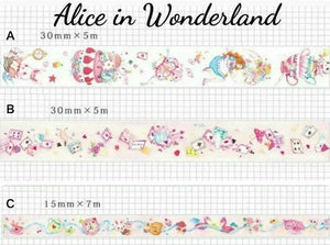 3 rolls Alice in Wonderland Washi Tape Set Deco Tapes