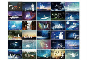 30pcs Gibli Glow in the Dark Postcards Totoro Postcard Set