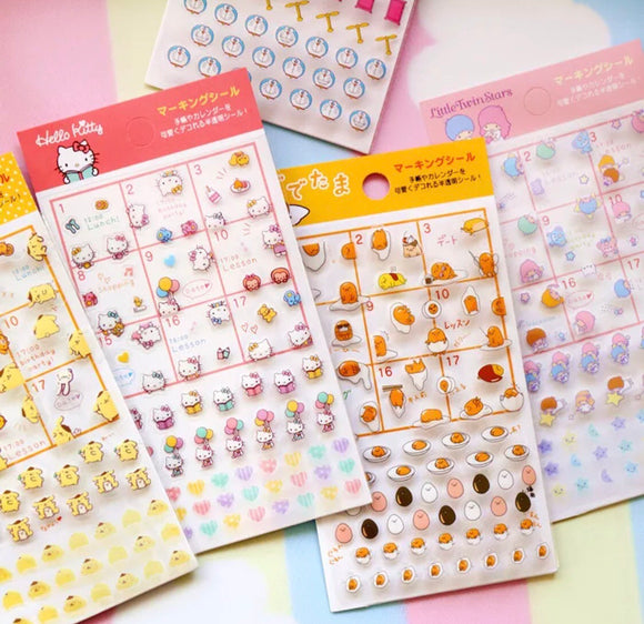 Sanrio Stickers Hello Kitty Mini Schedule Stickers Gudetama Pompompurin Little Twin Stars Kikilala Doraemon Sticker Set