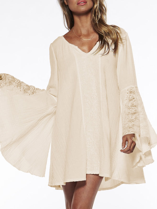 White Balloon Sleeve Paneled Midi Dress