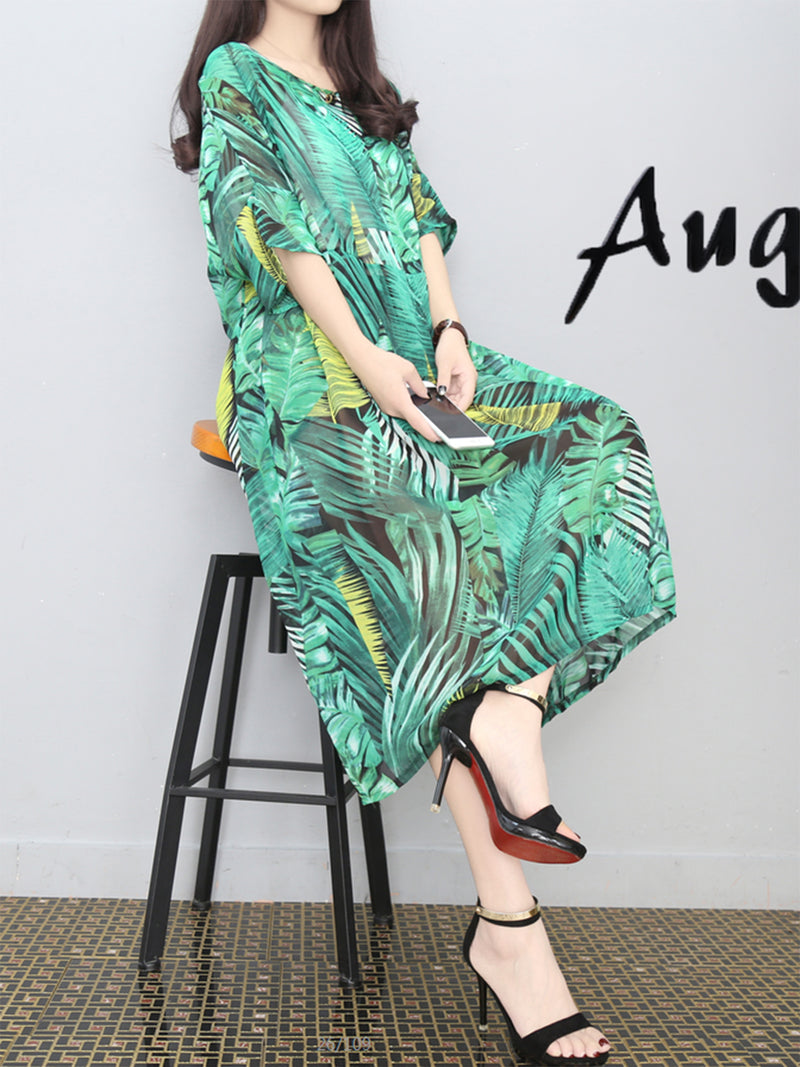 Green Leaf Short Sleeve Plus Size Dress