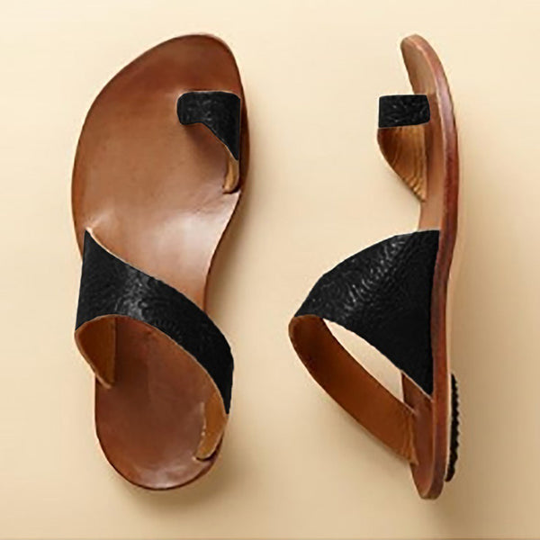 Daily Leather Flat Heel Summer Slippers