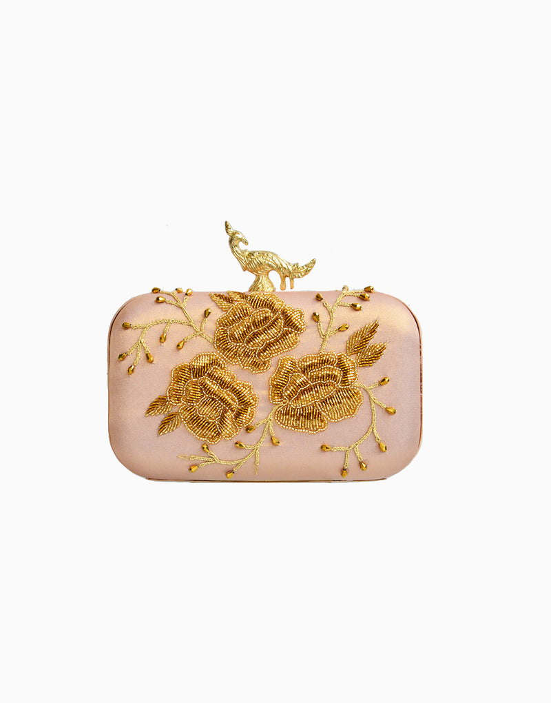 Rusaru - DENEB PINK EMBROIDERED CLUTCH - INDIASPOPUP.COM