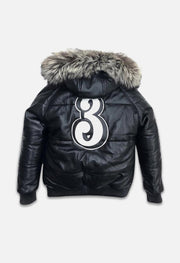 3 Ball Black Leather Puffer Jacket Back