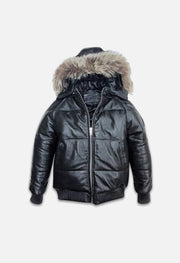 3 Ball Black Leather Puffer Jacket