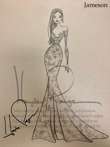 Jameson- Blush by Hayley Paige Bridal Gown Printed Sketch
