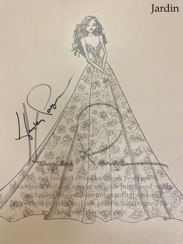 Jardin- Blush by Hayley Paige Bridal Gown Printed Sketch