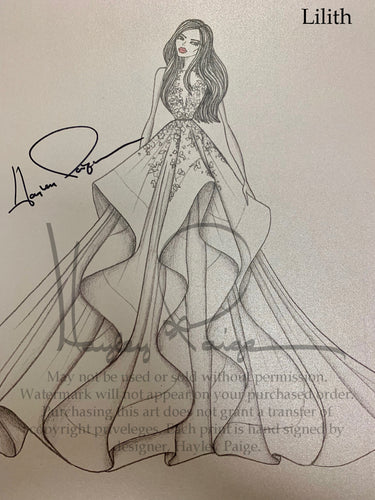 Lilith- Hayley Paige Bridal Gown Printed Sketch