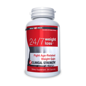 A single bottle of 24/7 Weight Loss (84 Capsules/42 Servings) on a white background.