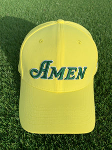 Yellow Curved Bill Amen Hat Nylon Blend Solid Back Snapback