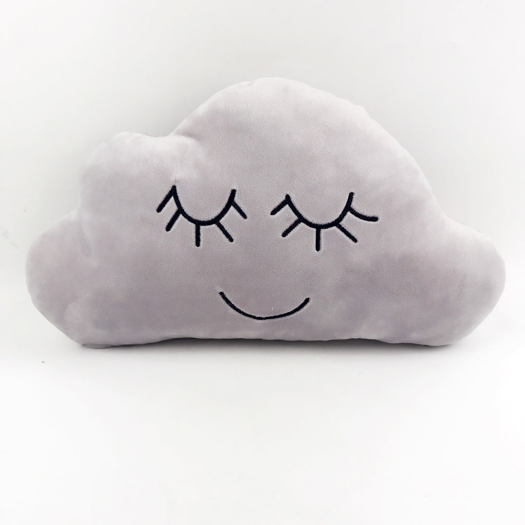 Grey Embroidered Cloud Pillow