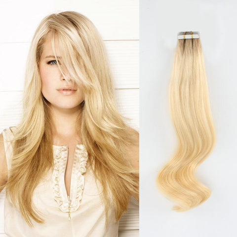Rooted Remy Tape-In Hair Extension Color #10 Medium Ash Brown into #613 Lightest Blonde