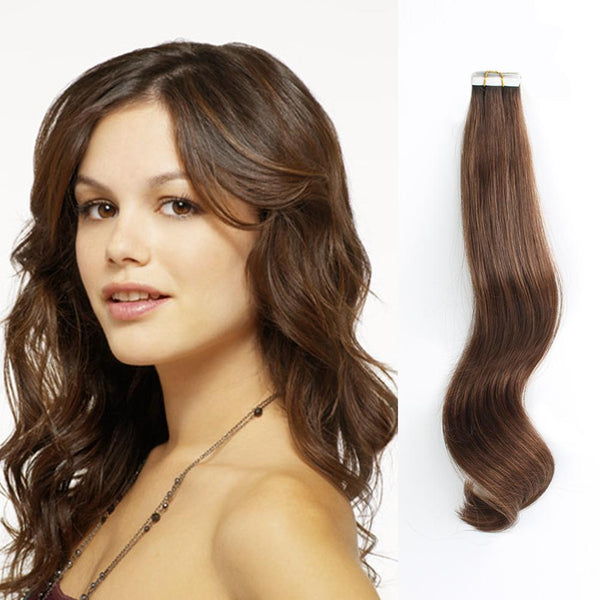 Rooted Remy Tape-In Hair Extension Color #2 Dark Brown into #4 Chocolate Brown